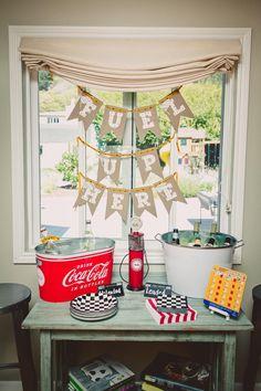 Race Track Themed 1st Birthday Party with Lots of Really Cute Ideas via Kara's Party Ideas | KarasPartyIdeas.com #RaceCarParty #VintageRaceC...