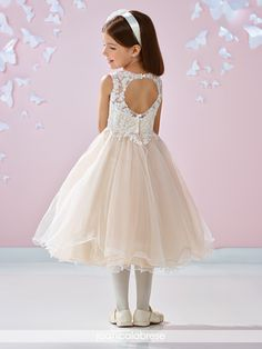 Joan Calabrese for Mon Cheri Beaded Lace & Tulle First Communion Dress (Little Girls & Big Girls) Flower Girls, Gold Flower Girl Dresses, Lovely Dresses, Satin Tulle, Tulle Dress, Lace Dress, David Tutera, Illusion Dress, Glamour