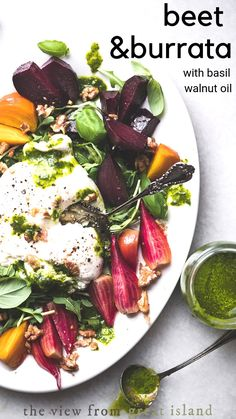 Roasted Beet and Burrata Salad Roasted Beet and Burrata Salad with basil walnut oil ~ a healthy appetizer or vegetarian side dish made with colorful rainbow beets and creamy burrata cheese. Salad Dressing Recipes, Chicken Salad Recipes, Healthy Salad Recipes, Beef Recipes, Cooking Recipes, Top Recipes, Salad Dressings, Cooking Tips, Burrata Recipe
