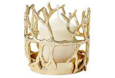"4"" Coral Candleholder, Gold"