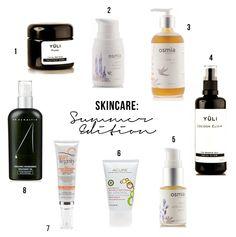 Skincare: Summer Edition: (1) Yüli Pure purifying mask (2) Osmia Organics Gentle Foaming Cleanser (3) Osmia Organics Light Body Oil (4) Yuli Skincare's Cocoon Elixir (5) Osmia Organics' Facial Calibration Serum (6) Acure Organic's  Oil Control Facial Moisturizer (7)Suntegrity's 5-in-1 Moisturizing Face Sunscreen (8) Dr. Alkaitis' Nourishing Treatment Oil + Honest Company's Sunscreen with SPF 30 Acure Organics, Organic Beauty, Natural Beauty, Purifying Mask, Vegan Beauty, Fresh Face, Summer Beauty, Natural Cosmetics, Natural Skin