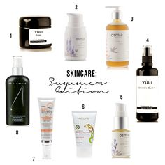 Skincare: Summer Edition: (1) Yüli Pure purifying mask (2) Osmia Organics Gentle Foaming Cleanser (3) Osmia Organics Light Body Oil (4) Yuli Skincare's Cocoon Elixir (5) Osmia Organics' Facial Calibration Serum (6) Acure Organic's  Oil Control Facial Moisturizer (7)Suntegrity's 5-in-1 Moisturizing Face Sunscreen (8) Dr. Alkaitis' Nourishing Treatment Oil + Honest Company's Sunscreen with SPF 30