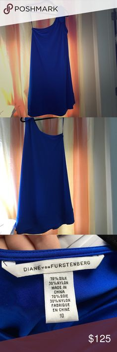 Diane Von Furstenburg one shoulder dress Beautiful bright blue DVF one shoulder dress. Cross stitching on the hem, with a bow on the left shoulder. Size 10 and is very forgiving so could probably fit a size 12 as well. Would look great with either gold or silver accessories!  purchased for full price at intermix and worn once for a junior prom! Diane von Furstenberg Dresses One Shoulder