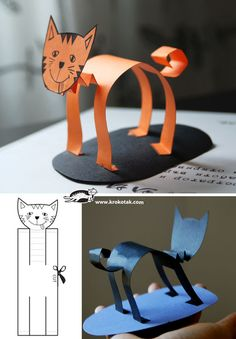 Paper Cat Crafts. This and several other paper cat crafts. Hero Cat paper craft idea.