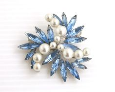 Vintage Jewelcrest brooch, large marquise blue crystals, differently sized pearls, rhodium setting, collectible, mid 20th century by CardCurios on Etsy