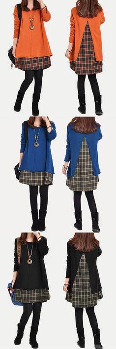 US$ 15.16 Splicing Check Grid Long Sleeve Loose Women Dress