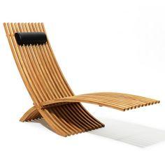 Constructed with 88 meticulously placed teak pieces, the Nozib Teak Lounger is both sleek and airy. The sturdy chair includes a water-resistant leather cushion that can be adjusted or removed. When not in use, the elegant lounger can be folded. Modern Outdoor Furniture, Garden Furniture, Furniture Chairs, Folding Furniture, Wood Chairs, Furniture Sets, Chair Design, Furniture Design, Garage Workshop