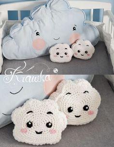 Baby Knitting Patterns Pillow Krawka: crochet cute cloud mini pillow kawaii style free pattern by Krawka Crochet Cushions, Crochet Pillow, Crochet Motif, Crochet Toys Patterns, Baby Knitting Patterns, Stuffed Toys Patterns, Kawaii Crochet, Cute Crochet, Diy Pillows