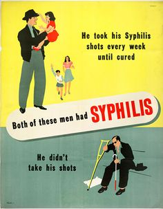 Vintage STD medical poster. Widespread access to penicillin near the end of WWII was a game-changer for STD treatment. Among other results, it is suspected that easy access to treatment led to the closing of the Chinatown Red Light District, as regulated prostitution was no longer the best way to control STDs.