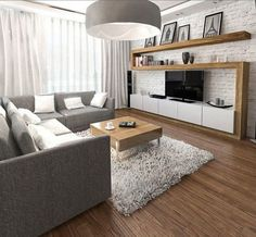 Furnishing ideas living gray sofa TV wall wood white brick wall