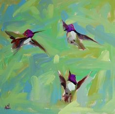 Tres colibríes Costas pájaro pintura al óleo por prattcreekart