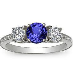 18K White Gold Sapphire Three Stone Round Diamond Pavé Trellis Ring