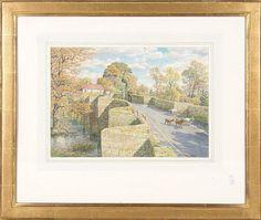 """aquarelle sur papier de Stanley Roy BADMIN (1906-1989)  """"Goats Roaming Stopham Bridge"""" sbd et daté Dec. 1983. <br>26.6x38 cm  <br> <br>Paintings    <br>Tableaux - Encadrés"""