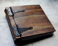 Monogram Photo Album Wood & Leather Artist Portfolio Rustic
