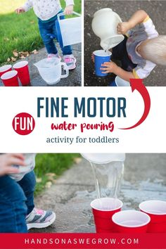 One year old's can start learning life skills too. A simple busy activity like pouring water (in the bath or outside) can help toddlers learn with household items!