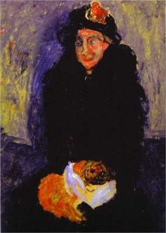 Old Woman with Dog - Chaim Soutine