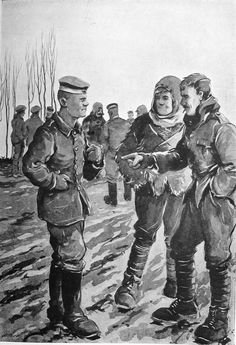 """A Memory of Christmas 1914 Bruce Bairnsfather illustrated his detailed account of the truce with this cartoon in his 1916 memoirs 'Bullets and Billets' and captioned it: 'A memory of Christmas, 1914: """"Look at this bloke's buttons, 'Arry. I should reckon 'e 'as a maid to dress 'im"""" ' Christmas Truce, Christmas Cards, Ww2 Posters, Tall Tales, Cartoon Sketches, Us History, World War I, Wwi, First World"""