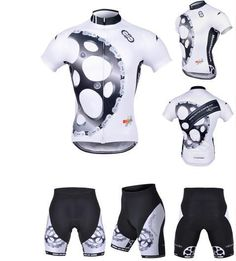 Black and White Gear Bike Cycling clothing /Sports wear/ Cycling jersey short sleeve Shorts Suite Quick-Dry Breathable