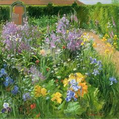Sweet Rocket, Foxgloves and Irises, 2000 (oil on canvas) by Timothy Easton