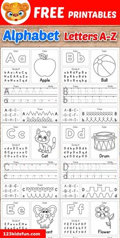Free Alphabet Practice A-Z Letter Worksheets Printable to Learn Kids. Preschoolers will identify, trace, write each letter of the alphabet. Preschool Writing, Kindergarten Learning, Preschool Learning Activities, Preschool Letters, Free Preschool, Preschool Lessons, Writing Activities, Preschool Ideas, Letter Writing For Kids