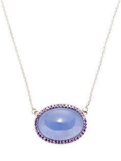 Jane Taylor Color Candy Amethyst & Lavender Chalcedony Oval Station Necklace