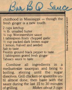 Bar B Q Sauce- I need to make a batch of this and divide it into smaller containers for the freezer.