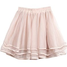 Sheinside Apricot Elastic Waist Cascading Ruffle Lace Skirt (2030 RSD) found on Polyvore featuring skirts, bottoms, pink skirt, lace skirt, knee length lace skirt, pink lace skirt and elastic waistband skirt
