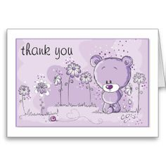 Teddy Bear Baby Shower Invitation - Purple Greeting Card
