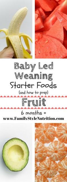 Baby Led Weaning Starter Foods The BEST starter food for your baby (over 6 months) with the Baby Led Weaning approach to baby feeding and all the preparation information! From FamilyStyleNutrit … Baby Led Weaning First Foods, Baby First Foods, Baby Led Weaning Recipes 6 Months, Baby Lef Weaning, Baby Led Weaning Cookbook, Toddler Meals, Kids Meals, Toddler Food, Bebe Nature
