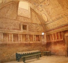 """Forum Baths at Pompeii"" - Water-colours on Pompeii by Luigi Bazzani (Bologna 1836-Rome 1927) - Naples Archaeological Museum"
