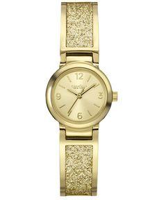 Caravelle New York by Bulova Women's Glitter Gold-Tone Stainless Steel Bangle Bracelet Watch 24mm 44L164