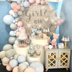 beautiful decoration set up in pastel blue and pink for gender reveal party Shower Party, Baby Shower Parties, Baby Shower Themes, Gender Party, Baby Gender Reveal Party, Gender Reveal Balloons, Gender Reveal Party Decorations, Birthday Party Decorations, Baby Reveal Cakes