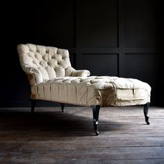 19th Century Ebonised French Buttoned Chaise Longue @hunterandrose #antiquefurniture #upholstery # upholstered #luxury #interiordesign #interiorstyling #style #interiors #homedesign #homestyle #antiquechairs #windowseat #benches #seating #vintage #decor #homedecor #countryhouse #home #interiordecorating #hotels #antiquedealers #boutiquehotels #hotelinteriors #chaiselongue #antiquechaiselongue