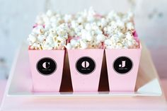 Soft pink and chalkboard black set the stage for an edgy yet romantic wedding day. Pink Popcorn, Popcorn Bags, Sweet Desserts, Dessert Table, Wedding Styles, Catering, Shabby, Wedding Day, Appetizers