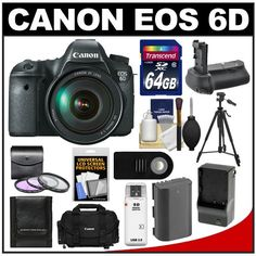 Canon EOS 6D Digital SLR Camera Body with EF 24-105mm L IS USM Lens with 64GB Card + Case + Battery & Charger + Battery Grip + Tripod + 3 UV... 6d Canon, Canon Ef Lenses, Canon Eos, Best Digital Slr Camera, Canon Digital, Reflex Camera, Camera Case, Nikon Dslr, Dslr Cameras