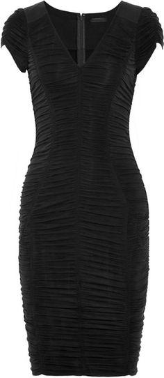 Donna Karan Ruched Suede effect Stretch jersey Dress