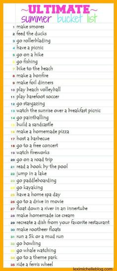 summer bucket list ideas-- 35 things to do this summer!!