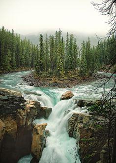 Sunwapta Falls in Jasper National Park, Canada  http://www.flickr.com/photos/phils-pixels/3222393721/sizes/l/in/photostream/  http://www.flickr.com/photos/ok2smile/5232450325/sizes/l/in/photostream/  カナダのジャスパー国立公園にあるサンワプタ滝は,その直上の河川が分流と合流によって円形のパターンを作っており,面白い風景が見られる場所になっている。  https://twitter.com/ogugeo/status/287321493942173698