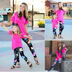 2017 EU Poplar Family Matching Outfits Printed Lularoe Leggings Mommy and Me