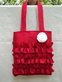 Burlap Purse Ruffled Bag Ruffled Tote by theruffleddaisy on Etsy, $47.00