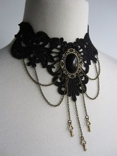 Choker Black Lace Necklace Little Keys Victorian Steampunk Gothic