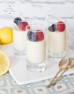 This easy recipe for lemon posset is simple and uses just three ingredients. Lemon possets (or lemon pots) are an impressive, delicious and elegant make ahead dessert which can also be frozen. Keeps in the fridge for several days.