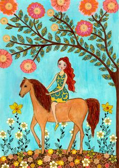 Horse Painting, Girl and Horse Art Children Decor and Nursery Art