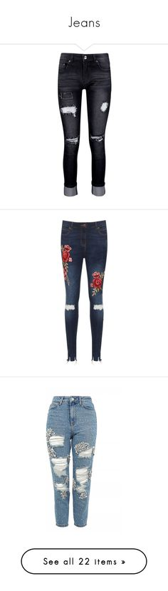 """""""Jeans"""" by girlygorgeousness ❤ liked on Polyvore featuring jeans, pants, bottoms, distressed boyfriend jeans, ripped skinny jeans, slim straight jeans, high-waisted skinny jeans, high waisted jeans, blue and super skinny ripped jeans"""