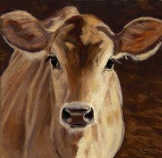"Jersey Calf Portrait by denise rich Oil ~ 12"" x 12"""