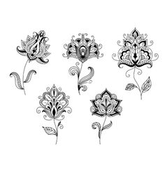 Black and white floral motifs in persian style by Seamartini on