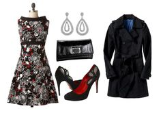 Product Information: Fujita Garden Dress – Modcloth. Steppin' Out Earrings – Zappos. Calvin Klain Patent Clutch – Endless. Cesare Paciotti shoes – Zappos Couture. Trench Coat – Old Navy.