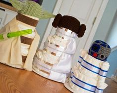 Set of 3 Star Wars Diaper Cakes, Yoda, R2D2, Princess Leigh Baby Shower Centerpieces, Decorations, or Gifts with Hand Crocheted Photo Props