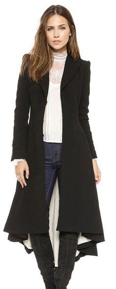 Hunger Shopping Womens Long Length Tuxedo Sweep Slim Wool Coat (M(chest:94cm))