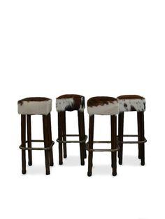 Elegant Cowhide Covered Bar Stools
